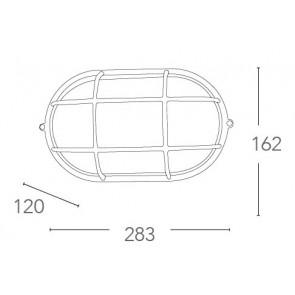 Plafonnier ovale blanc avec grille...