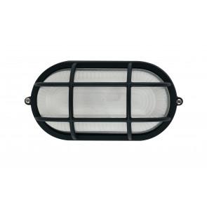 I-IBIZA-SP-NERO - Plafoniera Nera con Griglia Alluminio diffusore Vetro Tenuta Stagna E27