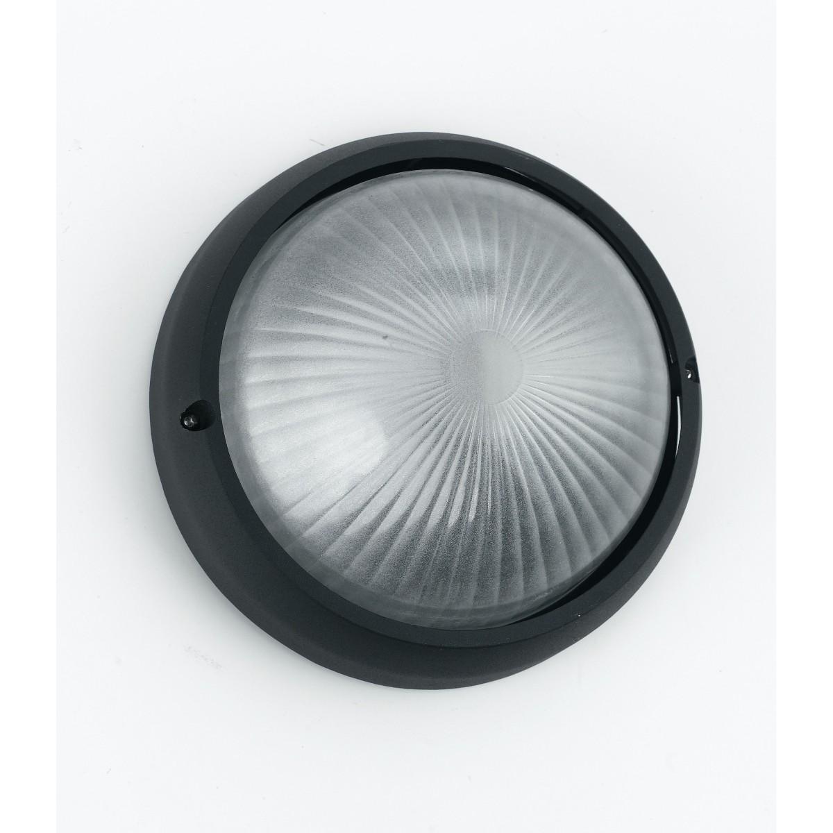I-3072S/NERO - Plafoniera Alluminio Nero Tonda diffusore Vetro Esterno Palestre Spogliatoi E27