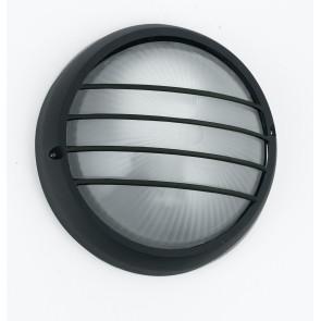 I-3074L / NERO - Plafonnier rond avec diffuseur Grille en aluminium noir Verre étanche E27