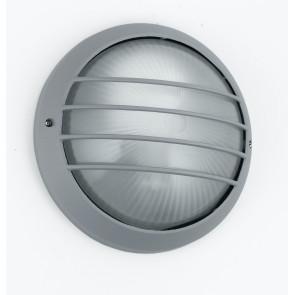 I-3074L / SILVER - Plafonnier avec grille en aluminium argenté Diffuseur rond Verre externe E27