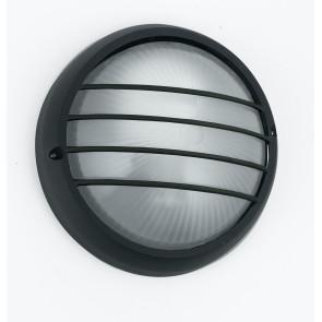 I-3074S / NERO - Plafonnier rond en aluminium noir avec grille de diffuseur en verre externe E27