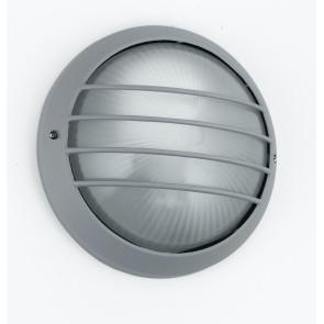 I-3074S/SILVER - Plafoniera Esterna con Griglia Tonda Alluminio Silver diffusore Vetro E27