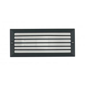 INC-DETROIT-E27-P - Lampe de balisage encastrable au mur avec grille en aluminium noir, joint étanche E27