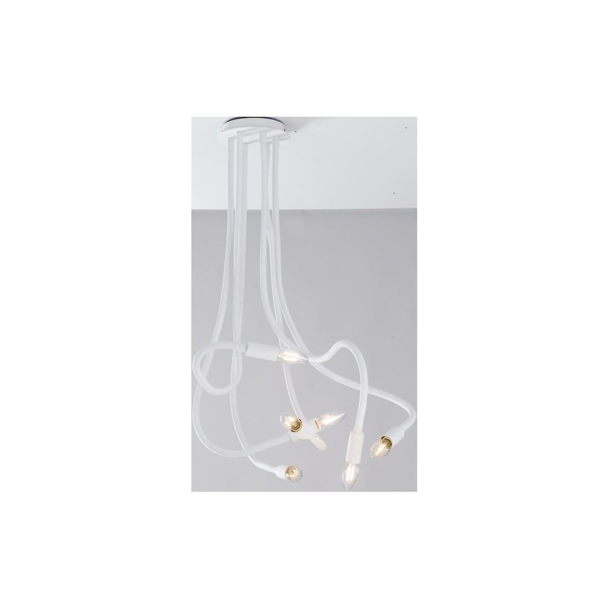 I-LOVER-6-BCO - Plafoniera 6 luci Flessibile Metallo Silicone Bianco Soffitto Moderna E14