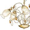 Diffusori Floreali in Vetro Ambrato con Gocce di Cristallo K9 e Struttura in Metallo Dorato Lampadario Ely 5 Luci