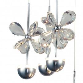 Structure métallique avec cristaux de fleurs K9 7 lumières LED incluses