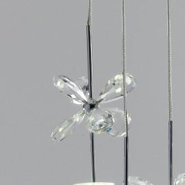 Pendenti in Metallo decorati con Fiori di Cristallo K9 13 Luci Led Incluse