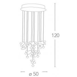 Plafonnier Belen en métal avec pendentifs en cristal floral 17 lumières FanEurope
