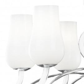 Lustre Angel 12 lumières avec diffuseurs en pâte de verre blanc et bras transparents