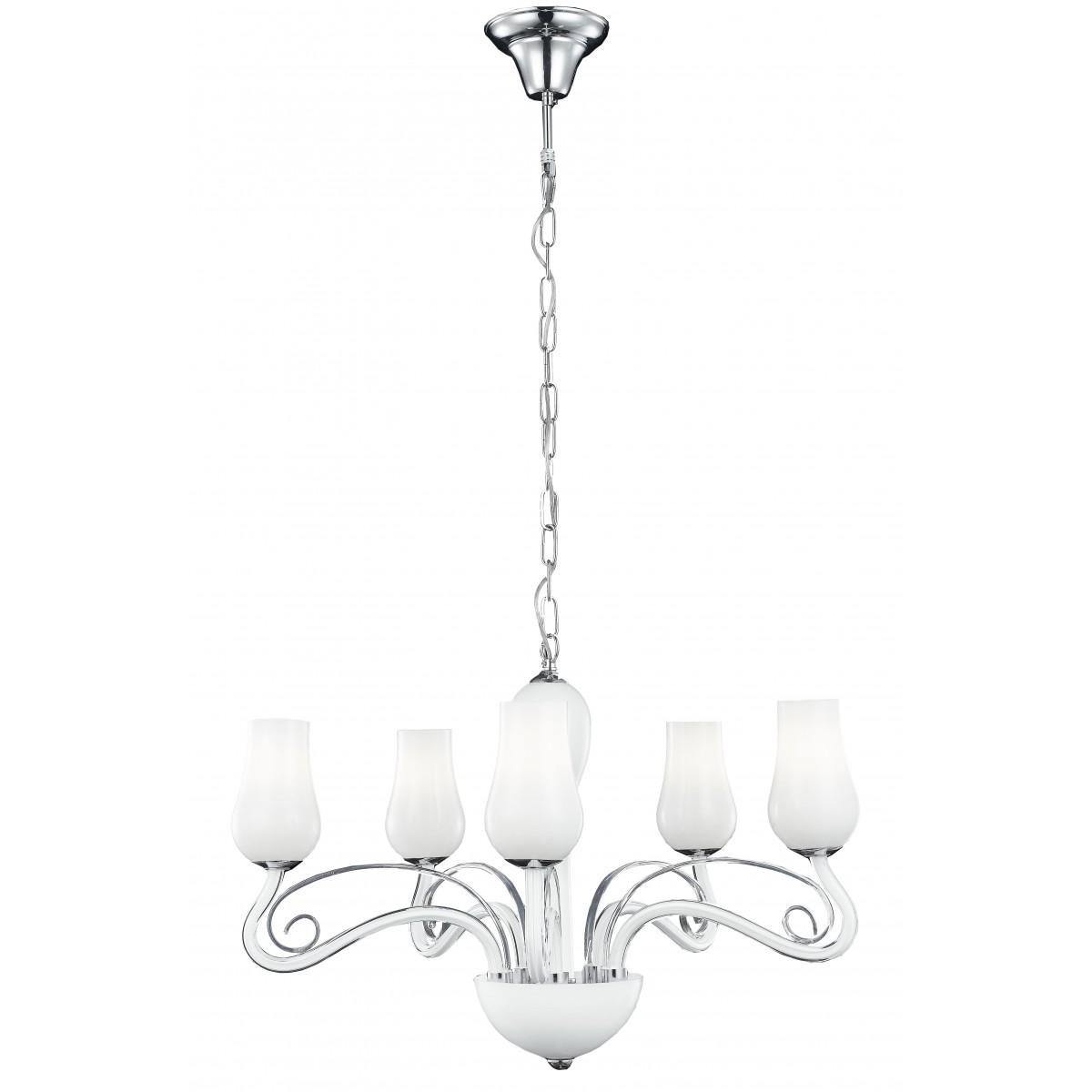 I-ANGEL/5 - Lampadario a Sospensione Classico Vetro Soffiato Bianco Trasparente Decoro Cromato E14