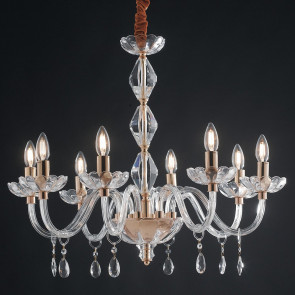 I-RIFLESSO / 8 ORO - Lustre Transparent Drops Crystal Finitions Classique Or E14