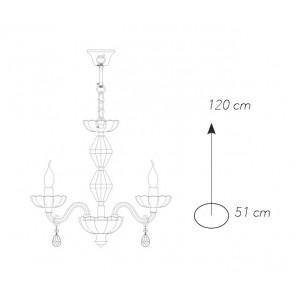 I-RIFLESSO / 5 ORO - Lustre à suspension en cristal avec finitions classiques en or E14