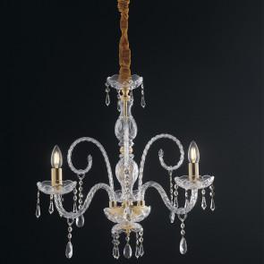 I-MONALISA / 3 - Lustre suspendu en verre lustré K9 Crystal Classic Gold Finish E14