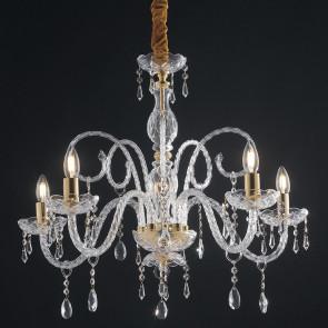 I-MONALISA/5 - Lampadario Barocco Finiture Oro Vetro Gocce Cristalli K9 Sospensione Classica E14
