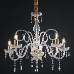 I-MONALISA / 5 - Lustre Baroque Finition Dorée Gouttes de Verre Cristaux K9 Suspension Classique E14