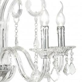 Lampadario 5 luci Cristallo con Struttura in Vetro Pendagli in Cristallo e Finiture Cromo FanEurope