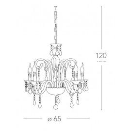 Lampadario Cristallo 5 luci in Vetro con Cristalli e Finiture Cromo FanEurope