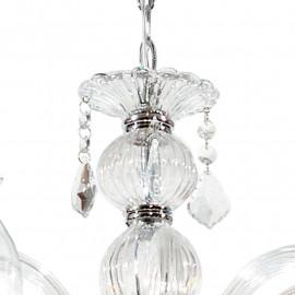 Sospensione a Catena Cristallo in Vetro con Finiture Cromo e Pendagli in cristallo