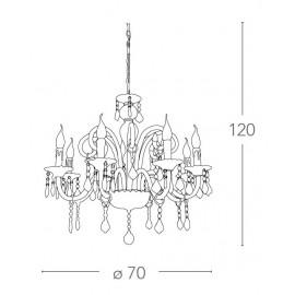 Lampadario Cristallo 8 luci in Vetro con Cristalli e Finiture Cromo FanEurope