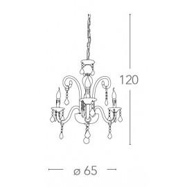 Lampadario Cristallo 3 luci in Vetro con Cristalli e Finiture Cromo FanEurope