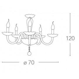 Lampadario Roxana 8 luci in Vetro con Finiture Cromo e Decoro in Cristallo FanEurope