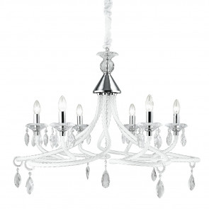 I-ATELIER / 6 - Lustre suspendu blanc décoré de gouttes de verre classique K9 Crystal E14