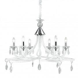 I-ATELIER/6 - Lampadario Sospeso Bianco Vetro Decorato Gocce Cristallo K9 Classico E14