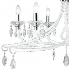 Lampadario Atelier in Vetro Bianco con Decoro simil Corde Finiture Cromo e Gocce di Cristallo