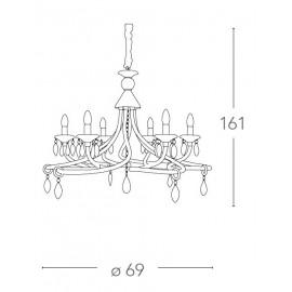 Lampadario Atelier 6 luci in Vetro Bianco con Decoro Simil Corde e Cristalli K9 FanEurope