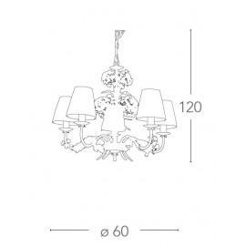 Lampadario 8 luci in Metallo Bianco con Fiori di Ortensia Artigianali FanEurope