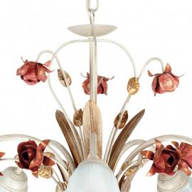 Lampadario Rose in Metallo con Diffusori in Vetro Bianco e Decoro a Rose Rosse Artigianale