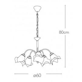 I-1162/5 RUG - Lampadario Sospeso Metallo diffusori Vetro Tirato a Mano Bianco Arancio Classico E14