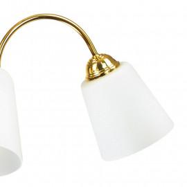 Lampadario 1162 in Metallo Oro con Diffusori in Vetro Soffiato Bianco