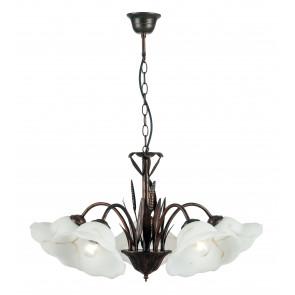 I-BYRON / 5 RUG - Lustre abat-jour en métal Floral Glass Classic Suspension E27