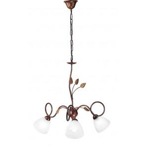 I-POESIA/3 - Lampadario Elegante Foglie Metallo Marrone paralumi Vetro Sospensione Classica E14