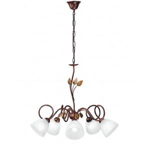 I-POESIA / 5 - Lustre suspendu Marrole Metal Leaves diffuseurs Classic Glass Interior E14