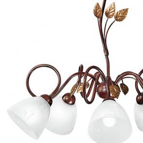 Lampadario Poesia 5 luci in Metallo Marrone con Foglie Decorate a Mano e Diffusori in Vetro Bianco