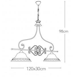 Lampadario a Biliardo Egizia in Metallo Decorato a Mano con Paralumi in Vetro Anticato FanEurope