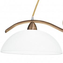 Lampadario in Metallo Bronzo con Decoro e Diffusori in Vetro Bianco Linea Halley