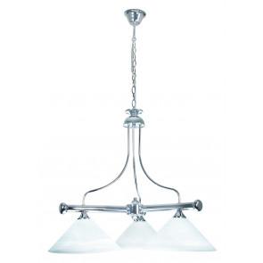PRO / 1300 / 3B - Suspension de billard 3 lumières Diffuseurs coniques en métal Lustre classique en verre E27