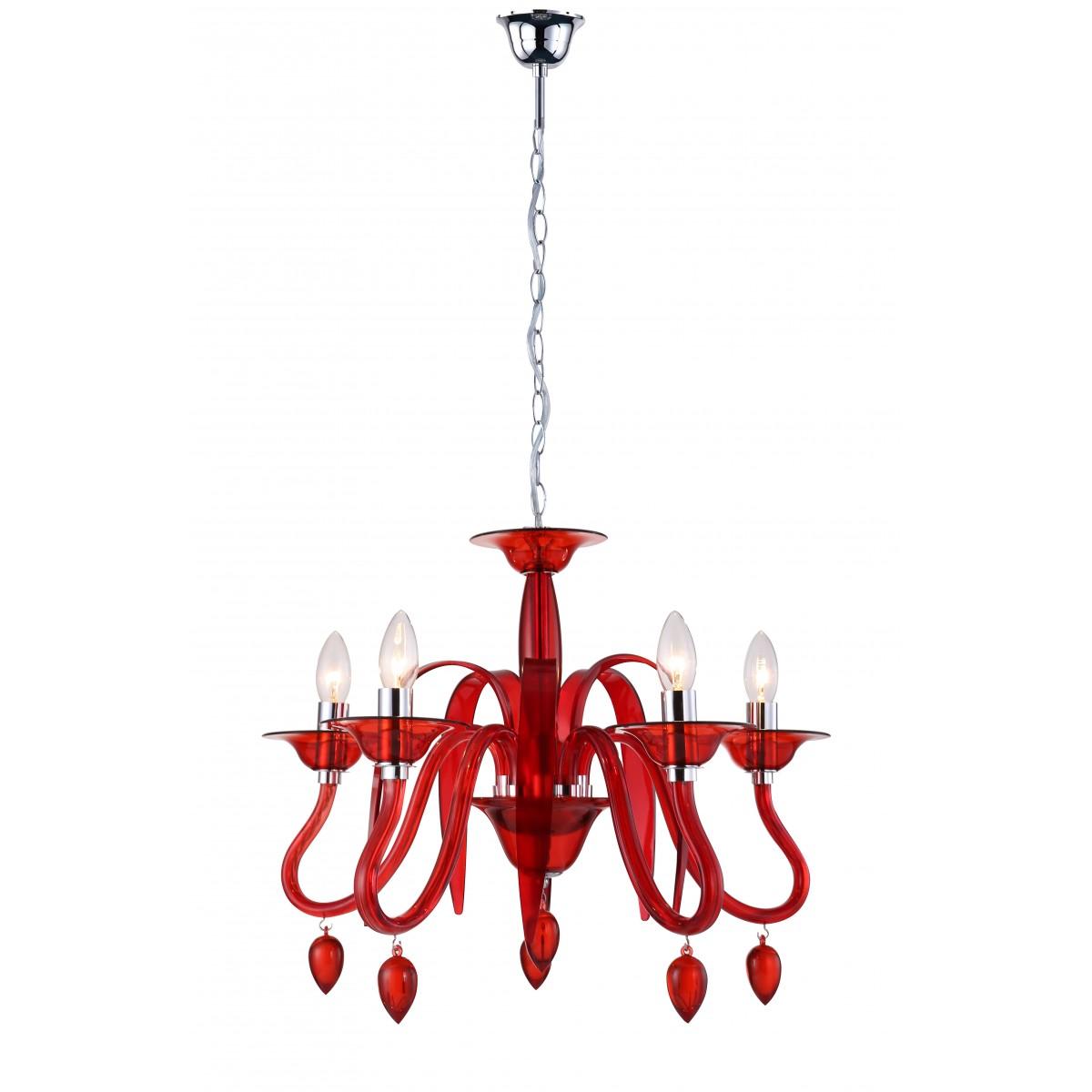 I-ESTEFAN-S5 RSO - Lampadario Acrilico Trasparente Rosso Pendagli Gocce Sospensione Moderna E14