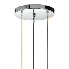 Idea 3 Wire Suspension Lustre Bleu Rouge Jaune avec Base Ronde en Chrome
