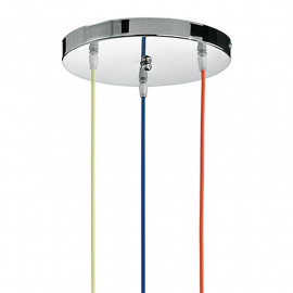 Idea 3 Wire Suspension Lustre Bleu Rouge Jaune avec Base Ronde en Chrome