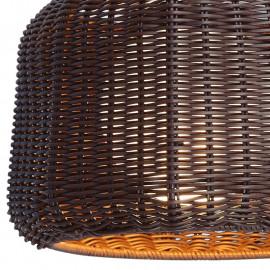 Diffuseur sphérique opalin et abat-jour en polyvinyl babilon brun en osier