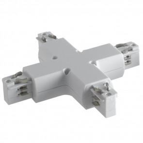 LED-TRACK-X - Connettore bianco per binari guida dalla forma a croce
