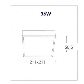Plafoniera Quadrata Alluminio Bianco...