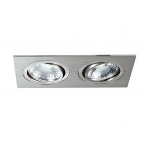 INC-GEMINI-PL6 - Incasso Controsoffittatura 2 Faretti Orientabili Alluminio Silver Led 10 watt Luce Naturale