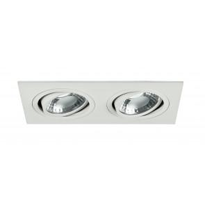 INC-GEMINI-PL6 BCO - Faretto a Incasso Orientabile Alluminio Bianco Due Luci Led 10 watt 4000 K