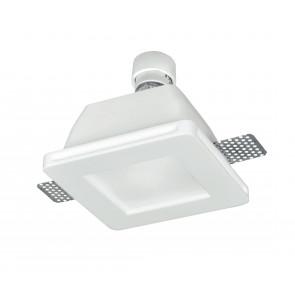 INC-SNOW-Q - Faretto Incasso Scomparsa Quadrato Gesso Verniciabile diffusore Vetro GU10